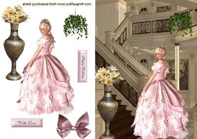 Elegant Lady in Pink Gown On A Staircase on Craftsuprint - Add To Basket!