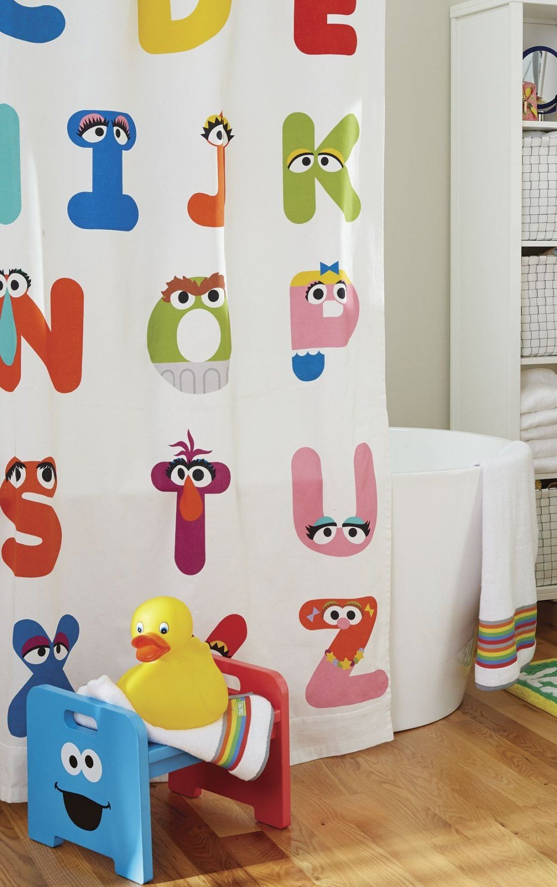 With Our ABC Sesame Street Shower Curtain Little Ones Can Learn The Alphabet While Getting Squeaky Clean Made From 100 Cotton And Conveniently Machine