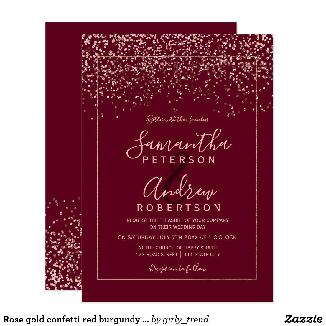 Rose Gold Confetti Red Burgundy Typography Wedding Invitation Zazzle Com In 2020 Typography Wedding Invitations Rose Gold Confetti Wedding Invitations