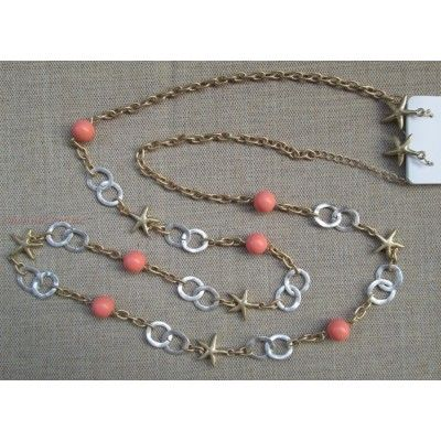 """Long 36"""" Layer Link Loop Chain Necklace Starfish Faux Coral Peach Bead Accent Earring Jewelry Set"""