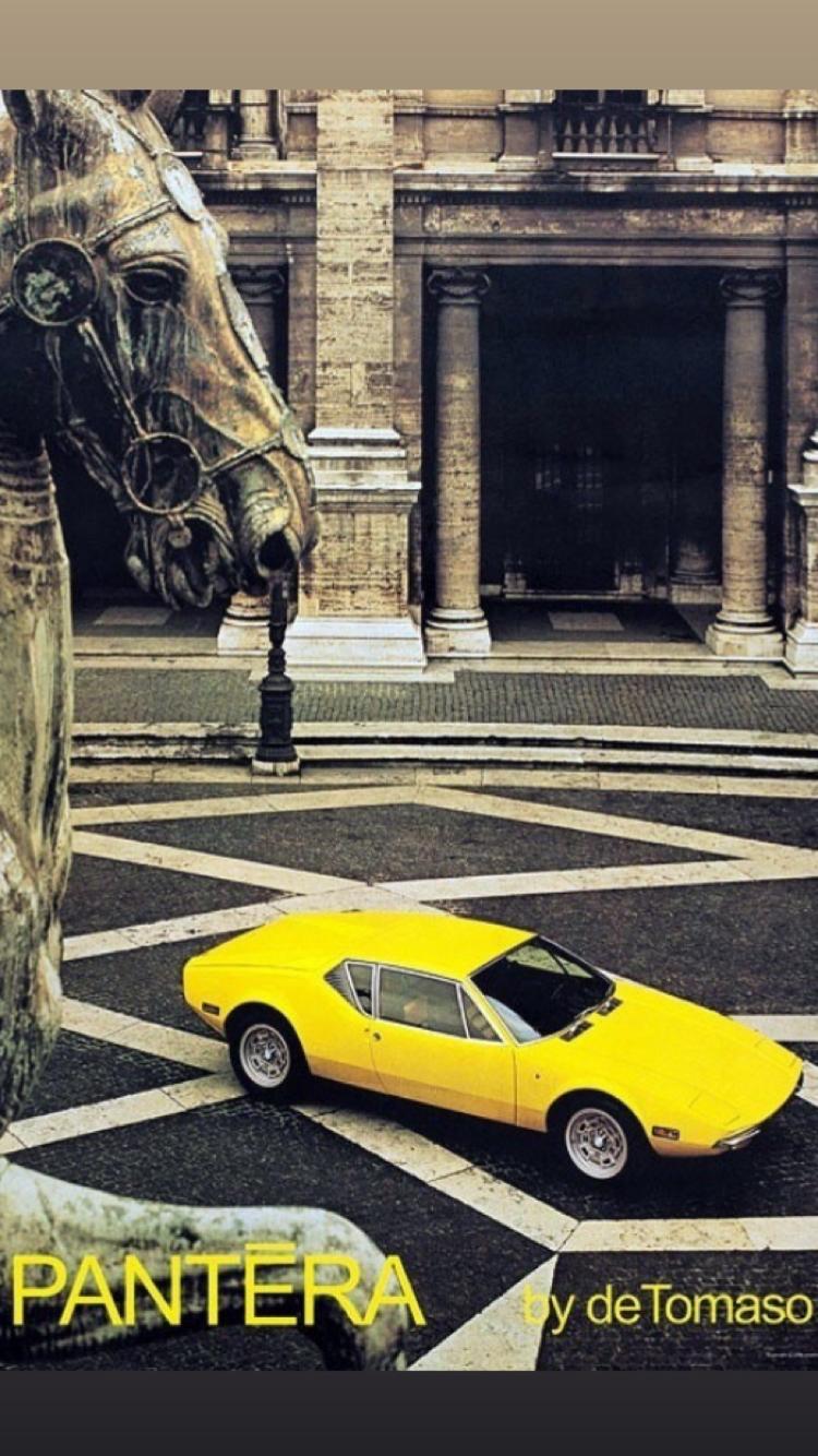 1973 PANTERA L Yellow Sports Car By Ghia VINTAGE AD Detomaso