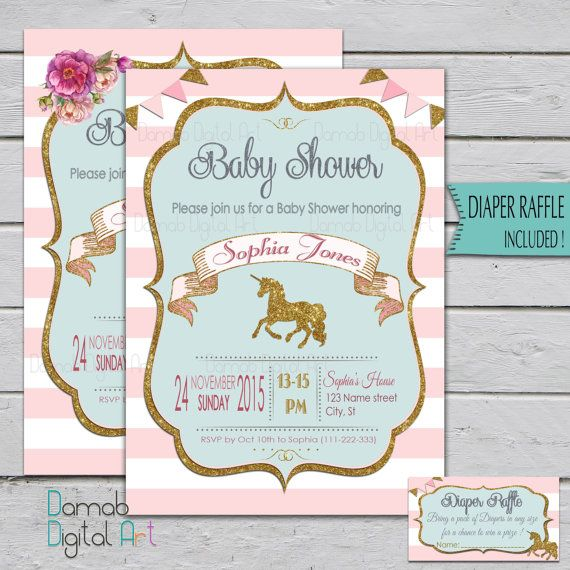 unicorn baby shower invitation, unicorn invitation, pink gold baby,
