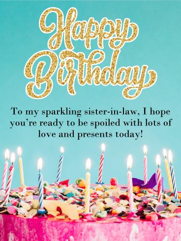Glitter Happy Bday Sister : glitter, happy, sister, Glitter, Happy, Birthday, Sister-in-Law, Greeting, Cards, Davia, Sister, Card,, Cards,