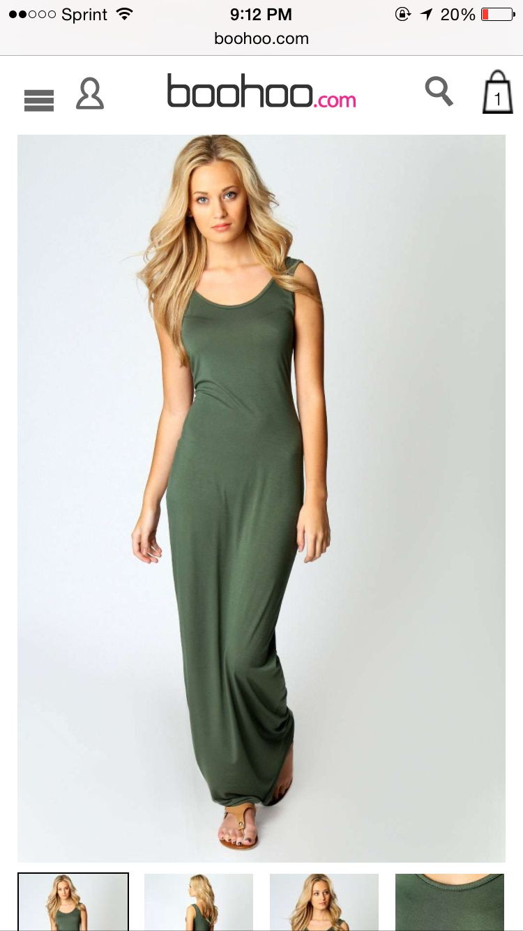 Sandy Maxi Dress from Boohoo, in khaki, bottle and tan $16.00 each
