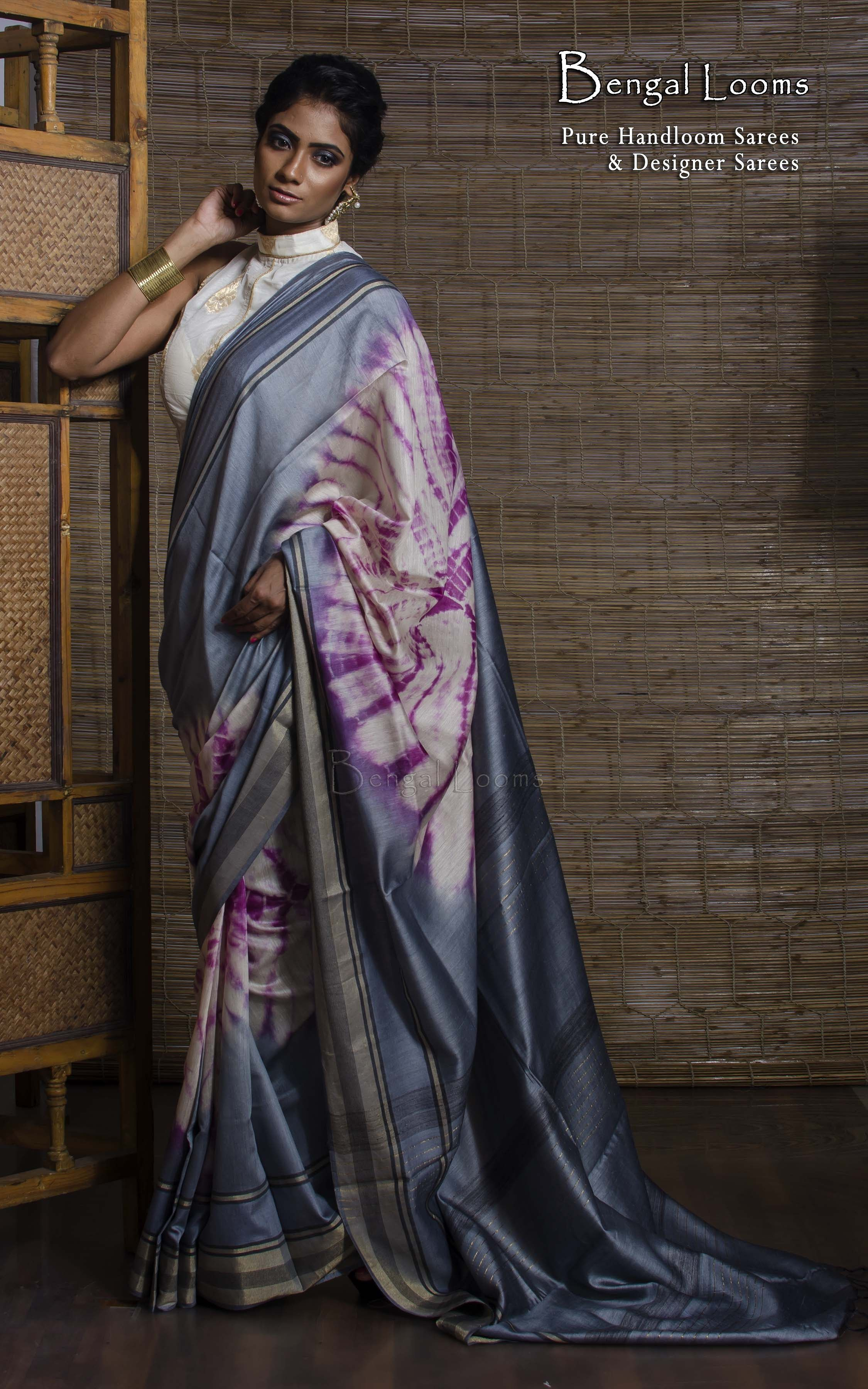 SHOP AT : www.bengallooms.com  This is a #Designer #TussarSilk #Shibori #Saree from #BengalLooms.