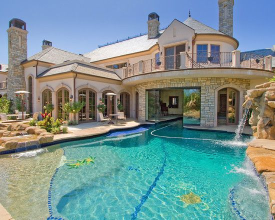 french pool beautiful homes design - Cool Pools With Waterfalls In Houses