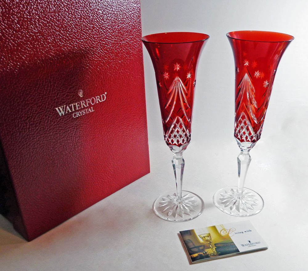 Waterford Champagne Flutes Hy Holidays Ruby Red Crystal