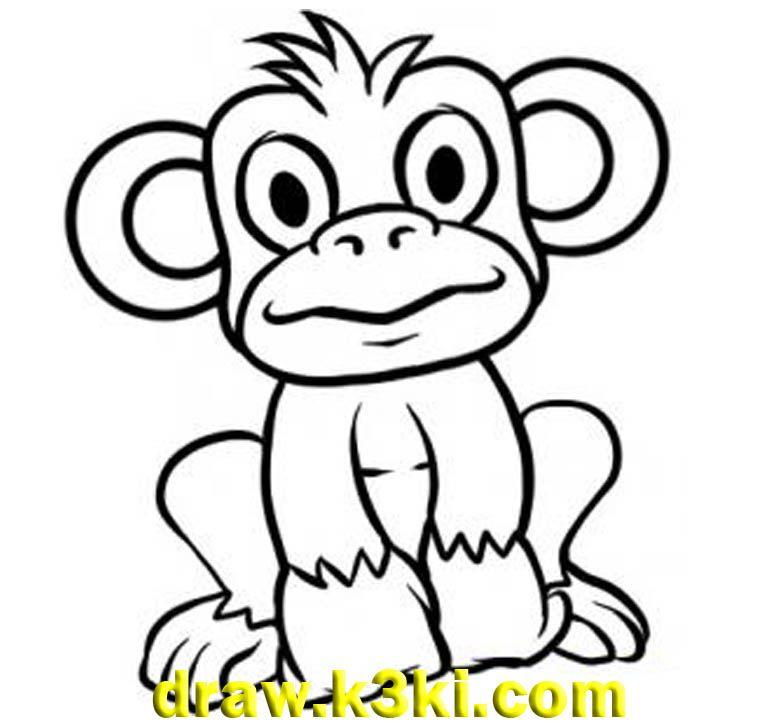 رسومات للتلوين قرد للتلوين Cartoon Monkey Drawing Easy Cartoon Drawings Simple Cartoon