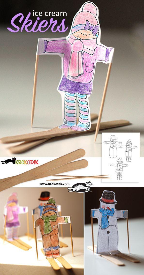 Kijk wat ik gevonden heb op  een gratis werkbeschrijving van Krokotak om deze leuke skiërs te maken