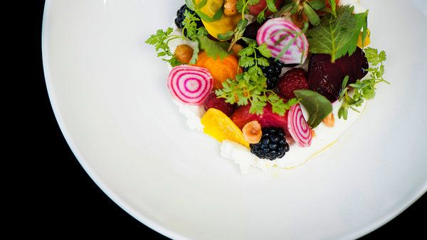 Beets and Berries w/goat cheese at Girasol in Los Angeles