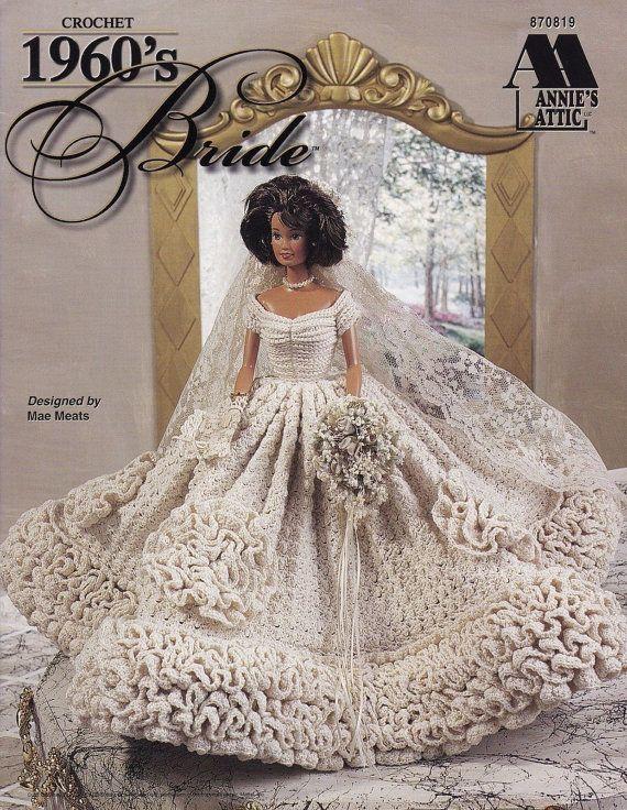 1960\'s Bride, Annie\'s Attic Fashion Doll Wedding Clothes Crochet ...
