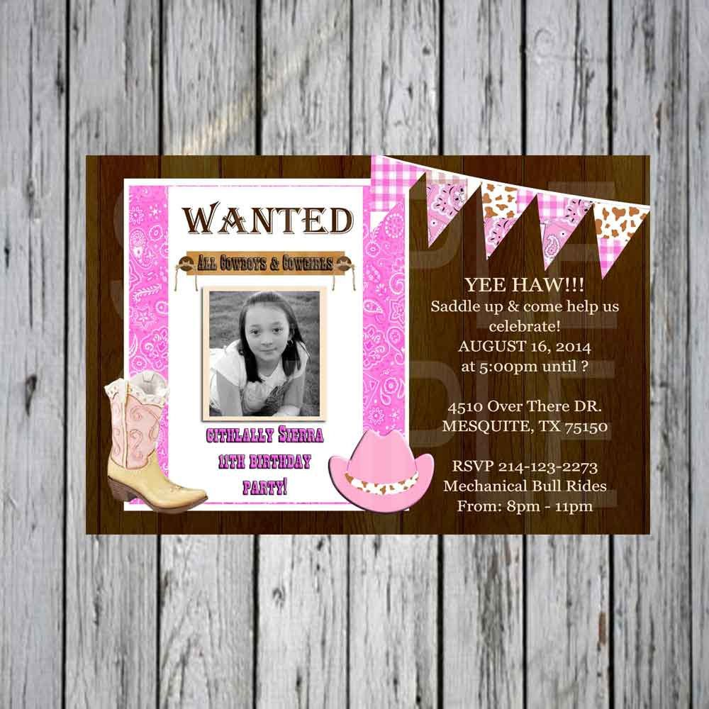 Cowgirl Wild West Boot and Hat style  Birthday Invitation Custom Pink and Brown by FindYourDesigns on Etsy