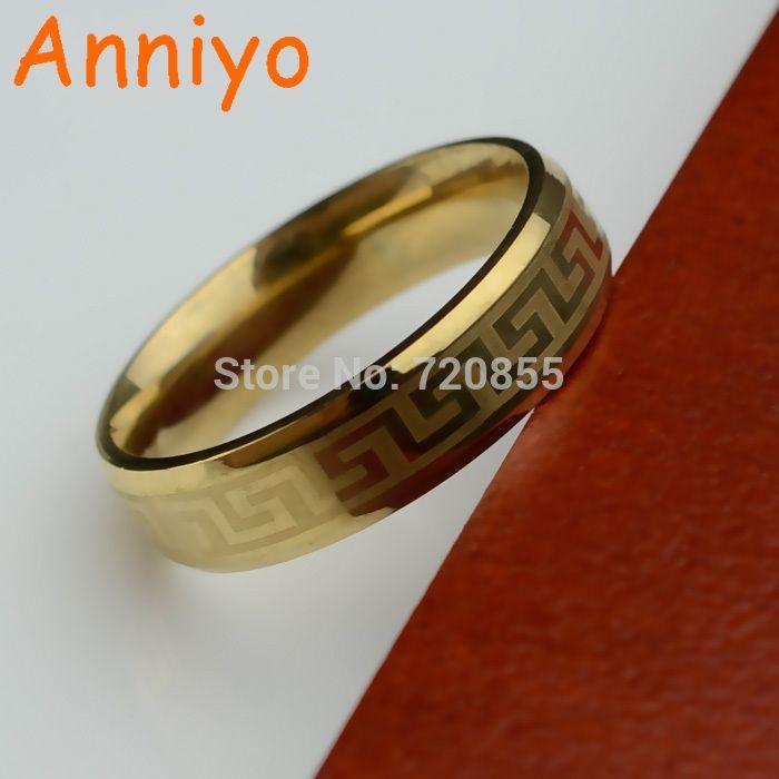Anniyo Greek Key Rings Men Stainless Steel Silver Gold Color Arabic