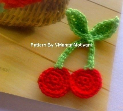 Cherries Applique Pdf Pattern Crochet Embellishment By Mamta 300