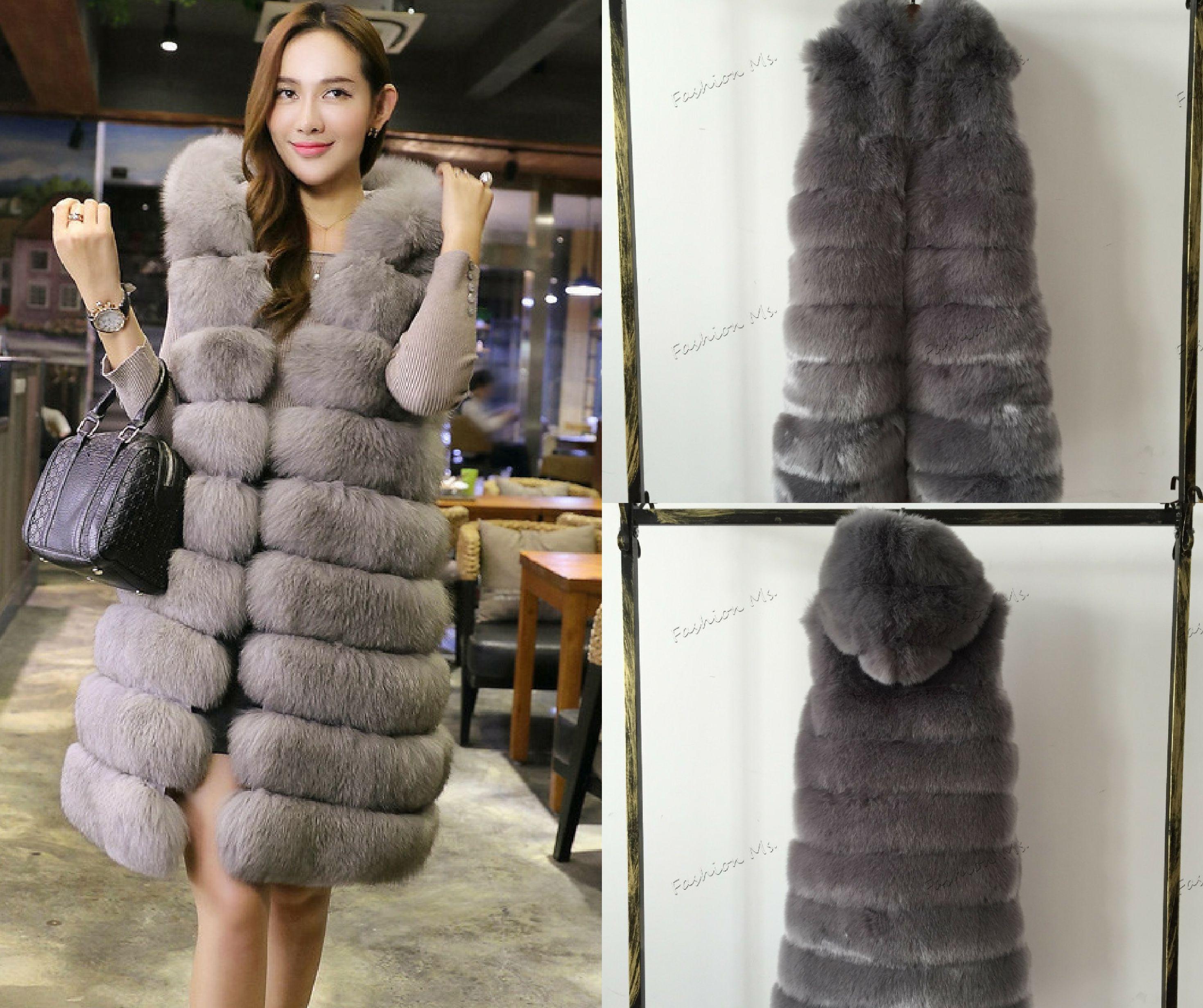 833230f14c49a CP Brand Long Hood Fur Vest Women Winter Faux Fox Fur Vest Furry Luxury Woman  Fake Fur Vest Plus Size Faux Fur High Quality! For more Inquiries  (248)  792- ...