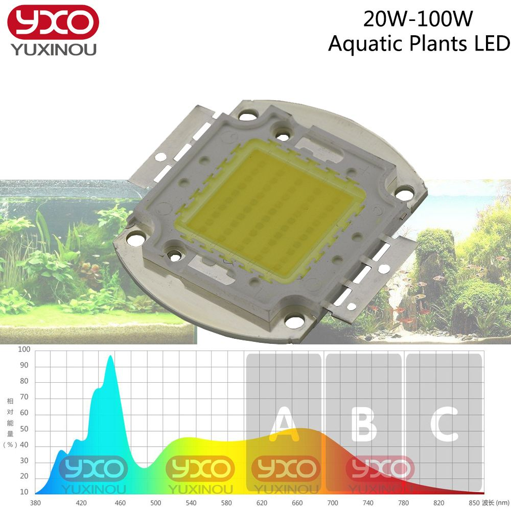 High Power Led Chip Aquarium Lamp 380nm 840nm 20w 30w 50w 100w Full Spectrum White Aquatic Plant Grow Blub Sea Gr Aquarium Lamp Aquarium Lighting Reef Aquarium