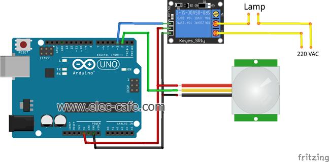 pir motion sensor switch  arduino  elec