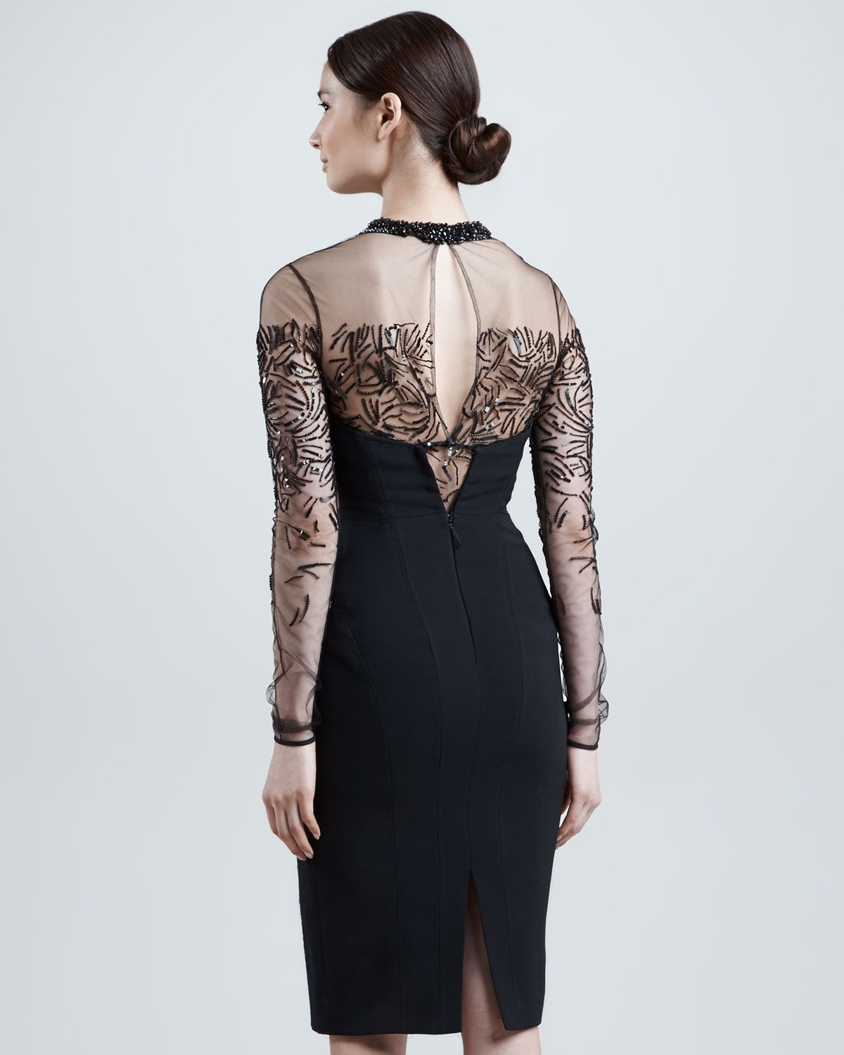 J. Mendel Beaded Sheer-Yoke Long-Sleeve Dress, Eclipse - Neiman Marcus