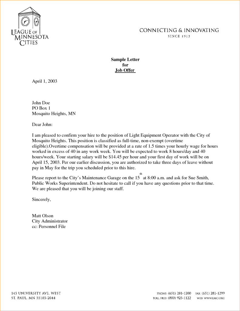 Job Offer Letter Templates Samples And Article Examplesticle Sop