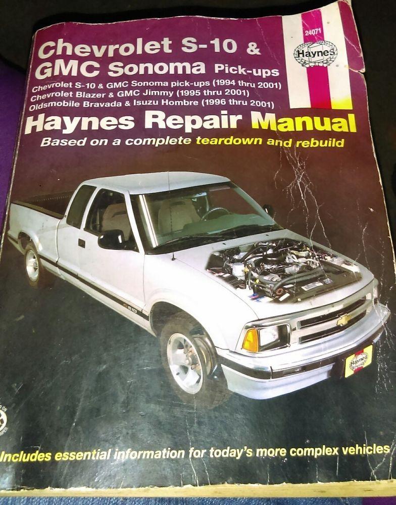haynes repair manual chevy s 10 amd gmc sonoma pickups ebay rh pinterest com 2001 gmc sonoma service manual 2001 gmc sonoma owner manual