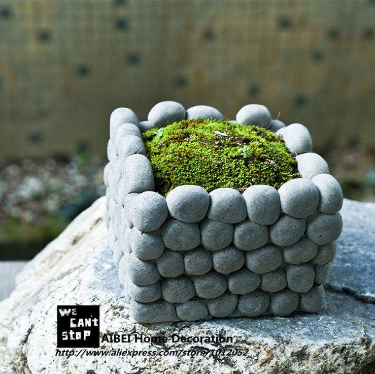 astonishing cement flower pots. AIBEI Creative breathable Stone Flower Pot Micro landscape Square Rectangle  Succulents Hydroponics cement Small Garden