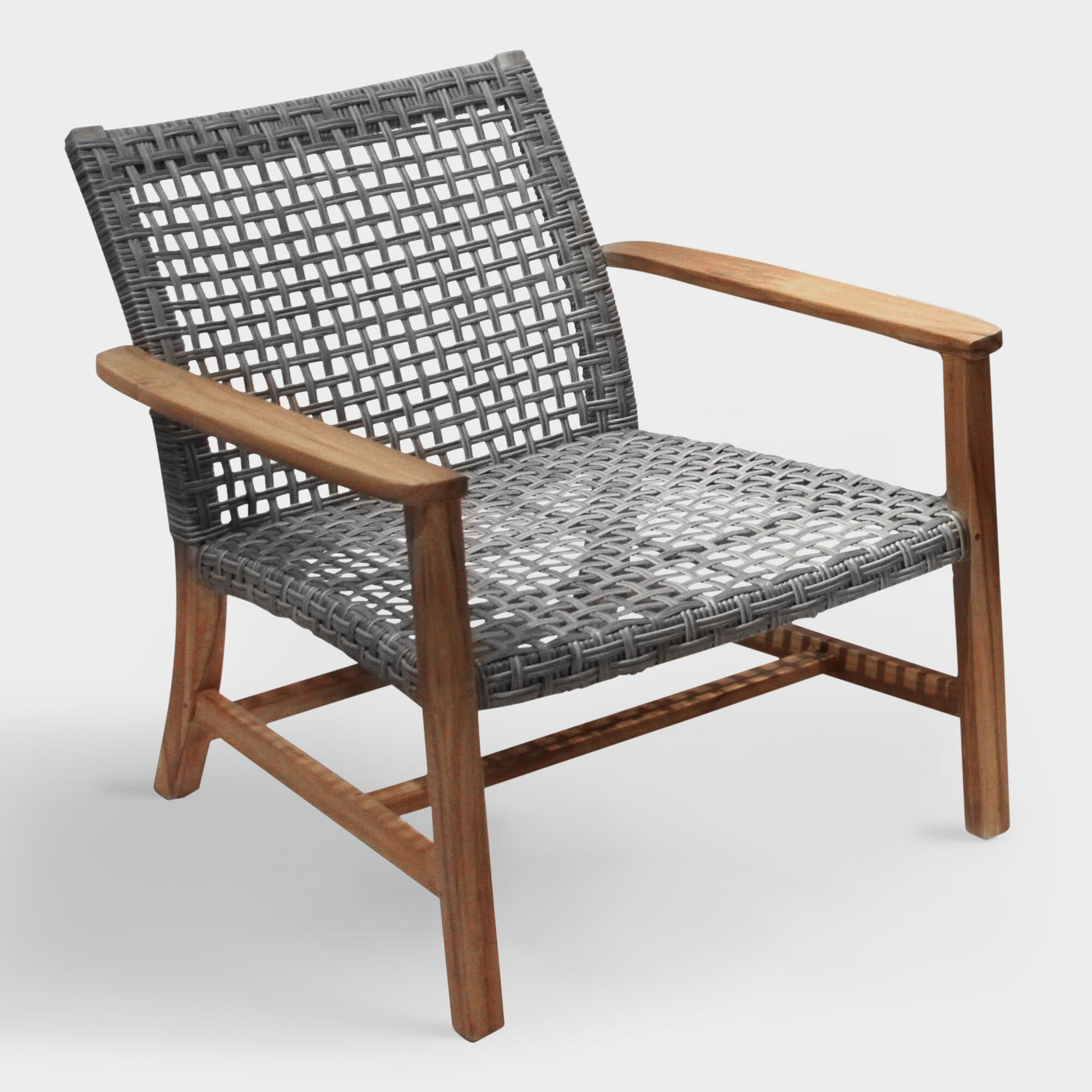 Teak Wood & All Weather Wicker Hakui Accent Chairs Set Of