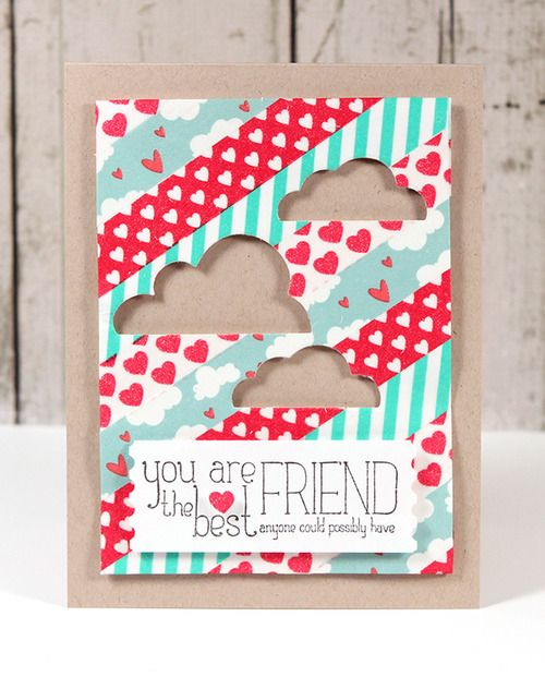 Washi Tape Die Cut Card  via Kwerner Design