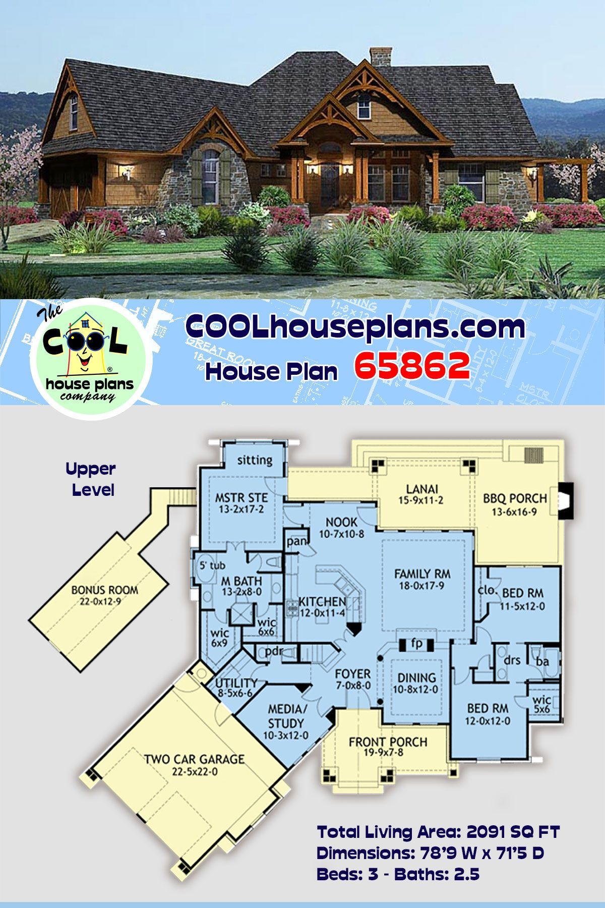 Tuscan Style House Plan 65862 With 3 Bed 3 Bath 2 Car Garage Tuscan House Plans House Plans Best House Plans