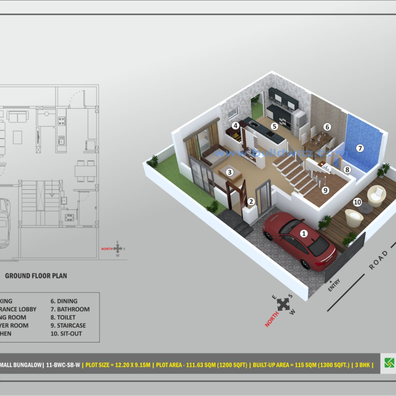 3 Bhk House Design Small Bungalow Built Up Area 115 Sqm 1300 Sqft Interior Design In 2020 Small Bungalow Indian Home Design House Design