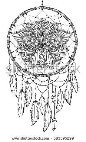 Hand Drawn Native American Indian Talisman Dreamcatcher With Feathers And Moon Vector Hipster Illustration Isolated
