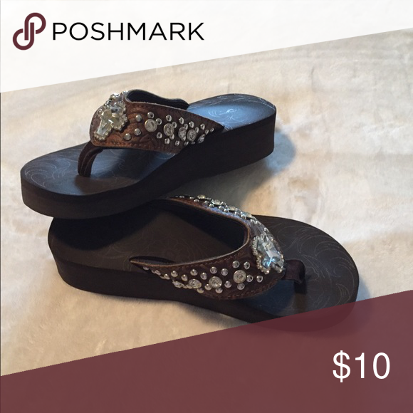 442ce6a6a Blinged out brown flip-flops Yellow box wedge brown bling flip-flops Yellow  Box