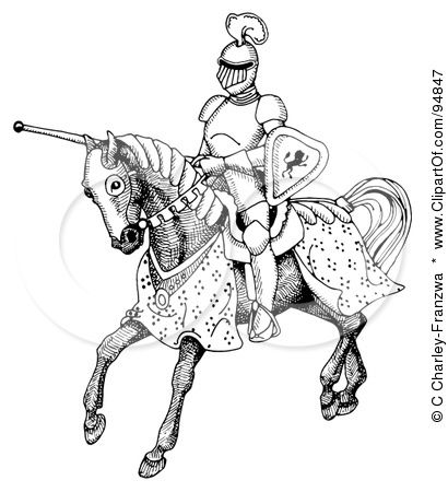 Knight On Horse Drawing Knight On Horse Medieval Horse