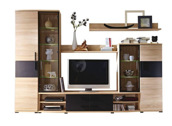 diese wohnwand berzeugt die moderne eichefarbene wohnwand besteht aus einer kommode einem tv. Black Bedroom Furniture Sets. Home Design Ideas