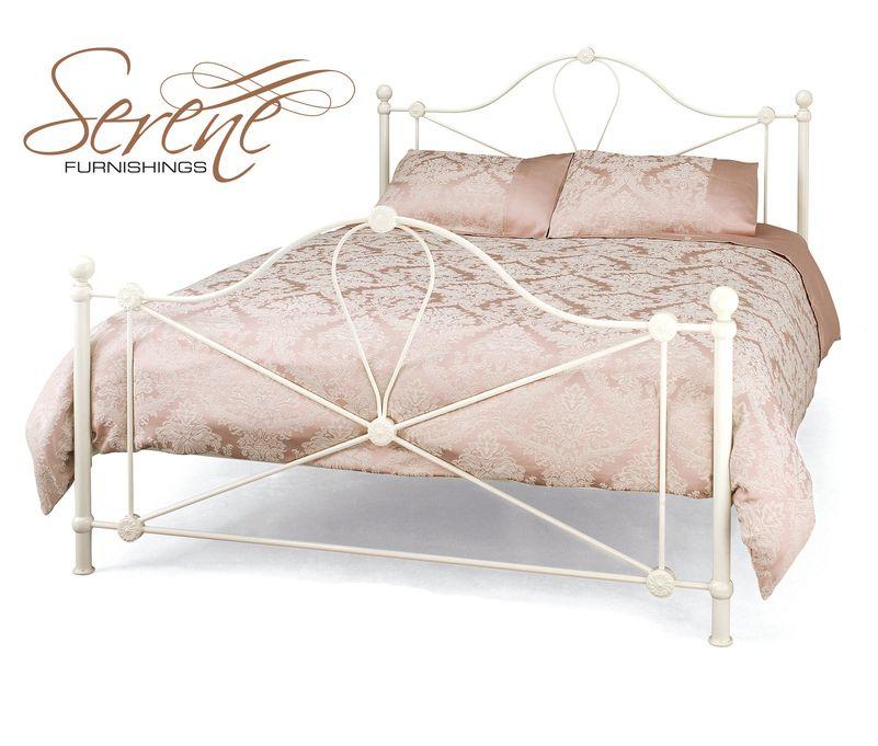 Serene Lyon Ivory Metal Bed Frame