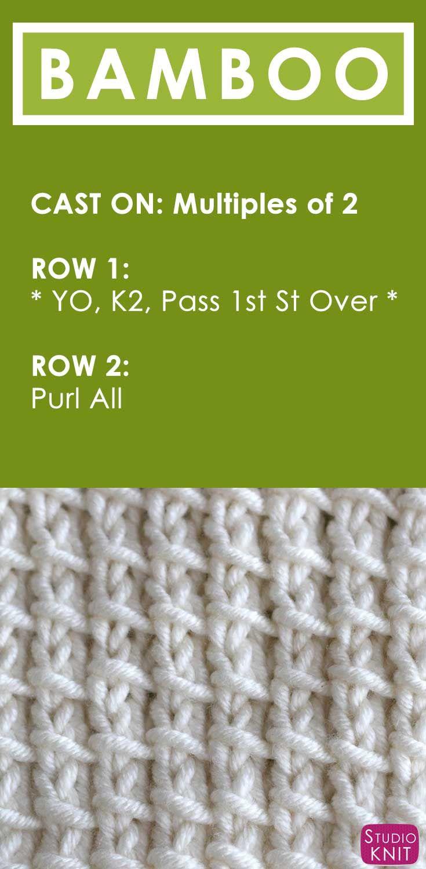 How To Knit The Bamboo Stitch Pattern Knit Stitch Patterns