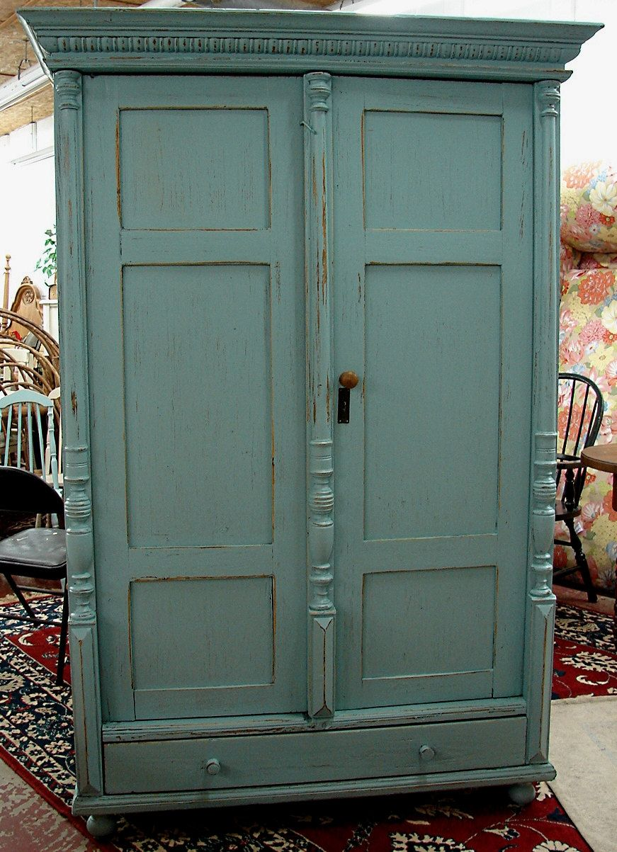 Antique Reclaimed English Covington Blue Milk Painted Pine Armoire Linen Press Closet Chest Tv