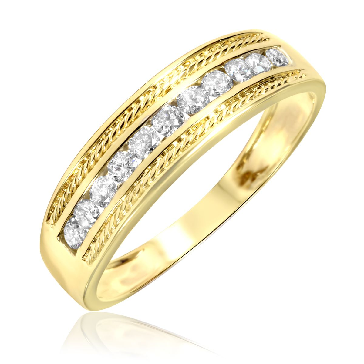 1 3 carat tw diamond men39s wedding ring 14k yellow gold for Wedding gold rings for men