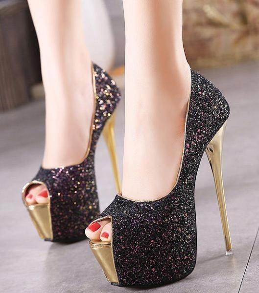 60cca7c4a23 Womens Bling Glitter Platform Stilettos High Heels Peep Toe Party ...