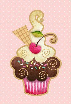Cupcake Dibujo Vintage