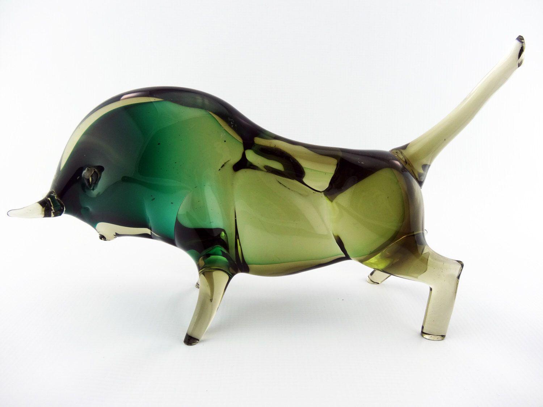 large heavy green sommerso glass bull seguso vetri d arte style large heavy green sommerso glass bull seguso vetri d arte style flavio poli retro home decormurano