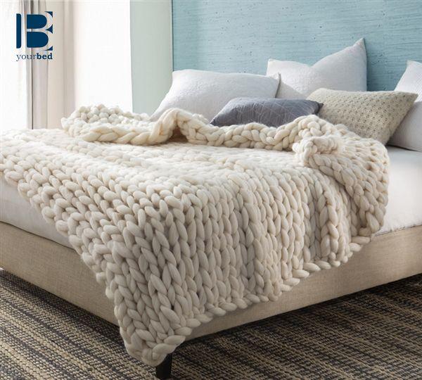 Pure Australian Woolen Blanket Chunky Knit Oversized Bedding Natural Woollen Blankets Elegant Home Decor Blanket