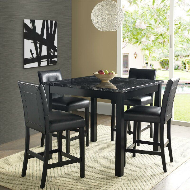Sison 5 Piece Counter Height Dining Set Counter Height Dining Sets Dining Table Marble Dining Room Sets 5 piece counter height dining set black