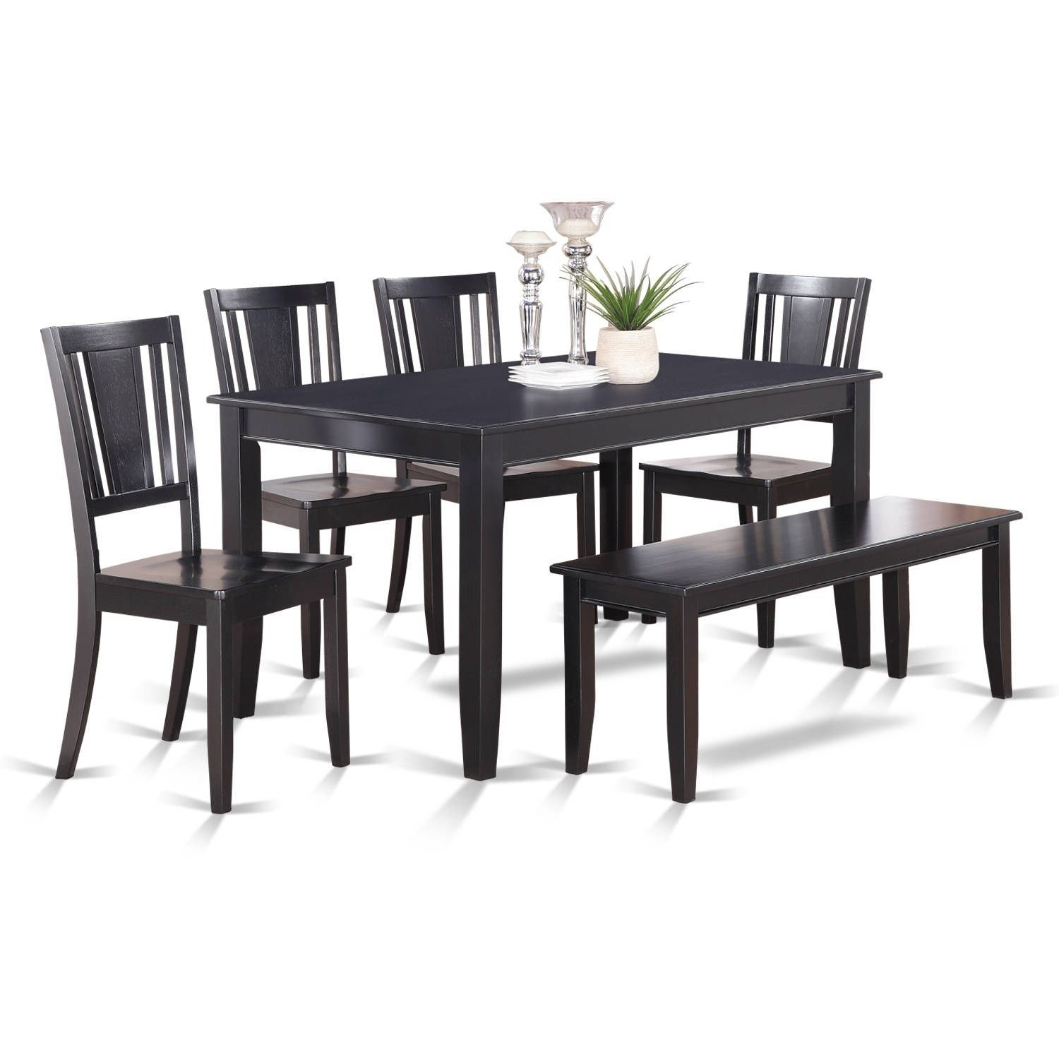 DULE6-BLK 6 Pc Kitchen Table- Table and 4 Kitchen Chairs and Bench ...