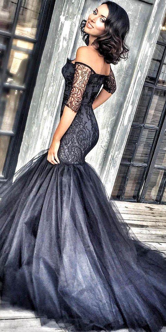 fb1bfbd4340c Kate S off shoulder black mermaid wedding dress / http://www.himisspuff