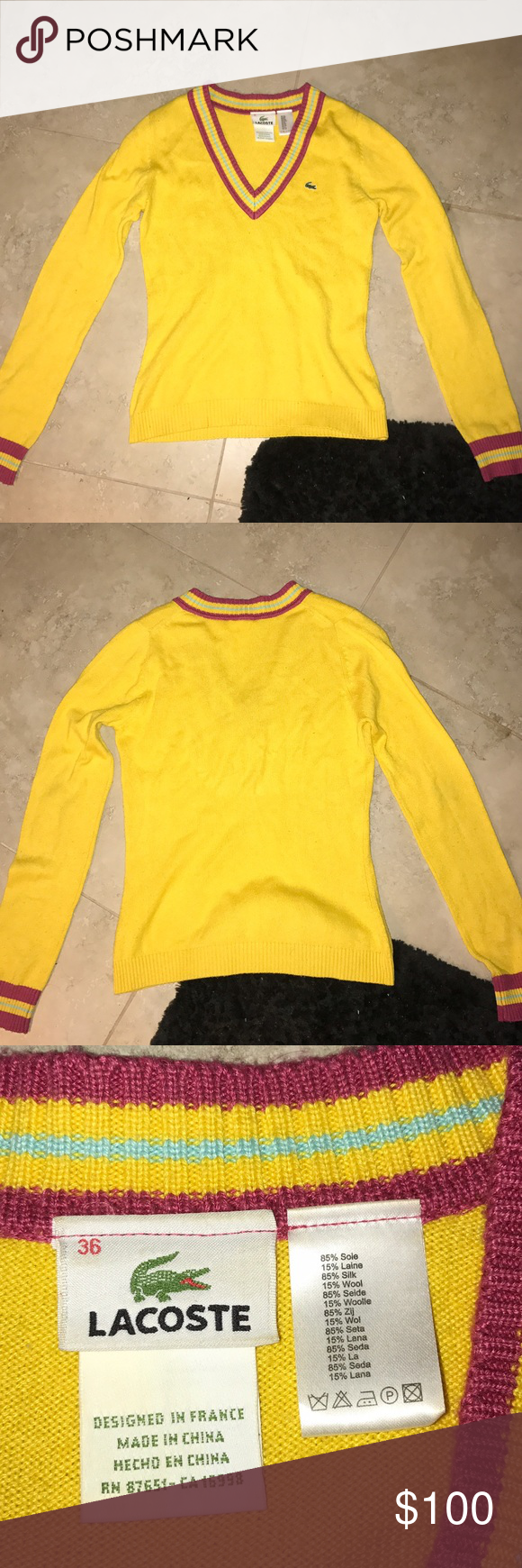 Lacoste Yellow V-Neck Sweater | Yellow sweater, Lacoste and Finals