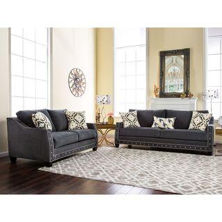 Camden Grey Linen Sofa   Overstock.com Shopping   The Best Deals On Sofas U0026