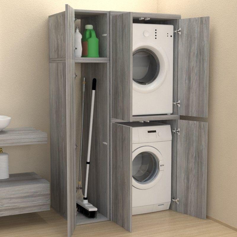 Photo of Colonna + vano accessori con ante coprilavatrice – Bagno – Lavanderia