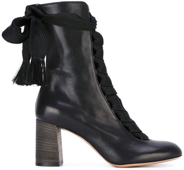 e707dffd261 Chloé Black Harper 70 Leather Lace Up Boots | Chloé. | Leather lace ...