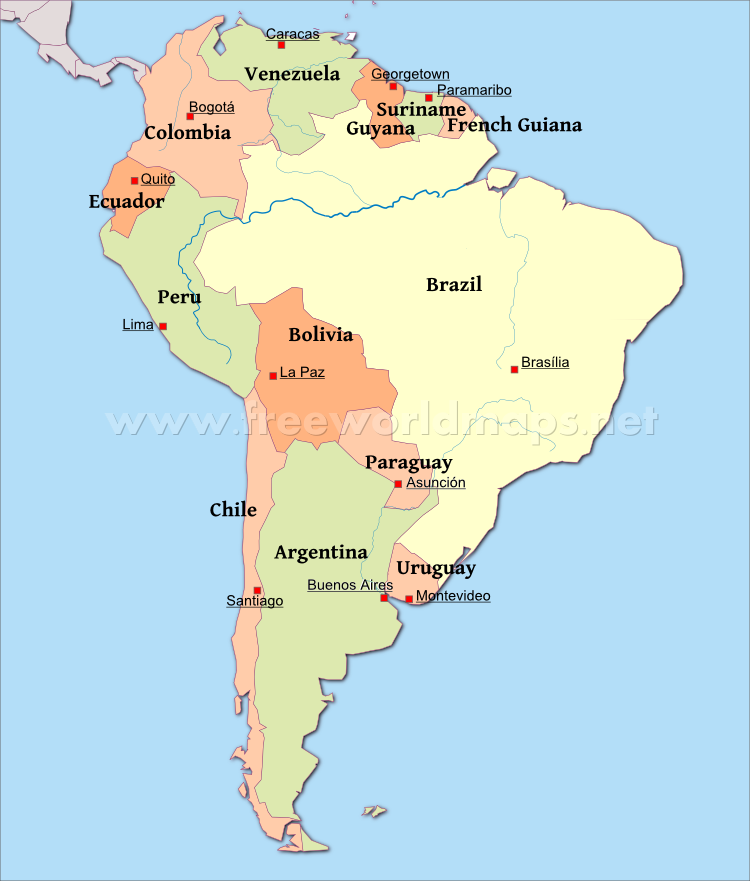 Map of South America with Capitals | This & That | South america