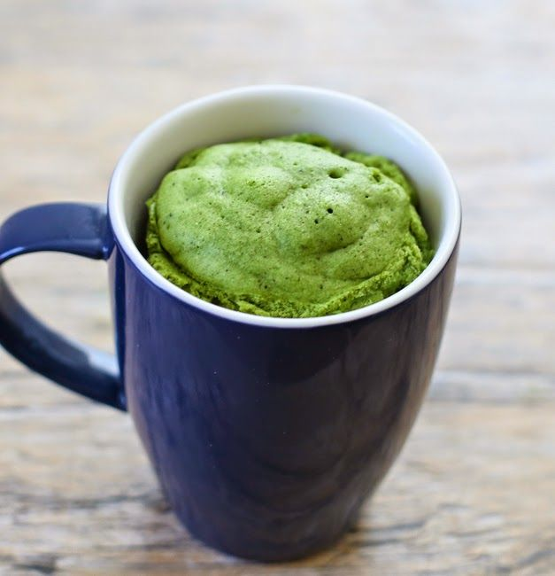 This single serving matcha green tea flavored mug cake has a strong green tea flavor and beautiful natural dark green color. It cooks in the microwave and is ready in minutes!